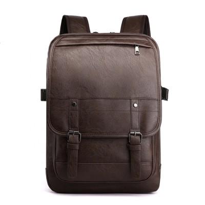 New style waterproof business zipper 15.6 inch men pu laptop backpack