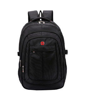 OEM ODM big capacity waterproof men black polyester school student backpack
