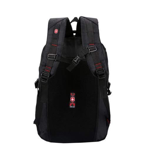 OEM ODM big capacity waterproof men black polyester school student backpack