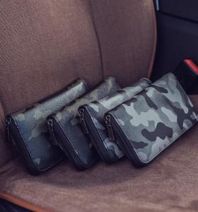 Custom fashion high quality camo leisure business pu men clutch bag
