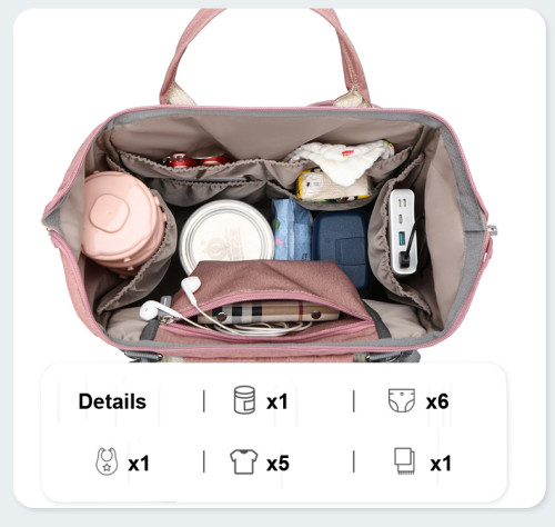 Custom sac a langer usb Large Capacity Outdoor Charging Mommy Baby Crib Diaper Bag Large Capacity Mommy bags