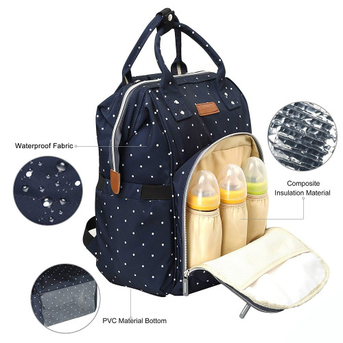 Nappy Bag Waterproof Travel Multifunction USB Charger Bottom Antifouling Design Mommy Diaper Bag Backpack