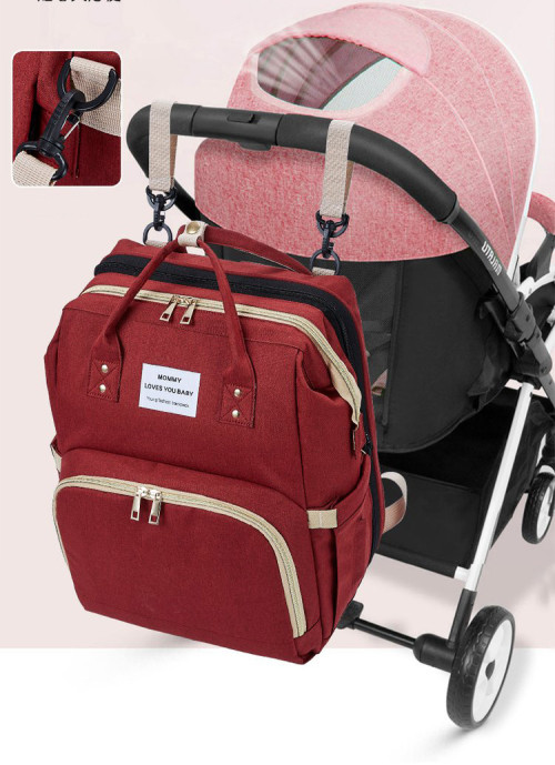 Newest mommy backpack multifunction baby diaper bag with sleeping bed 2 buyers