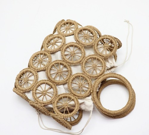 Custom summer hollow ladies beach bag wheel pattern square hand-woven handbag