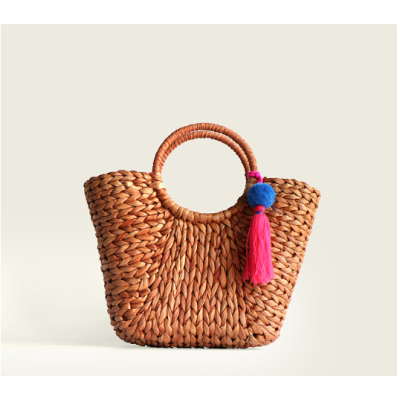 2021 women corn husk straw beach tote bags for summer