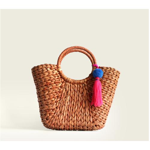 2021 women corn husk straw beach tote bags for summer