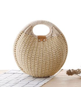 2021 fashion round straw beach bag straw tote bag