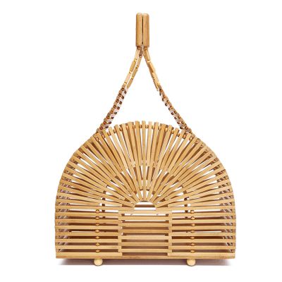 Bamboo Clutch Tote Bag Wooden Handbag Women