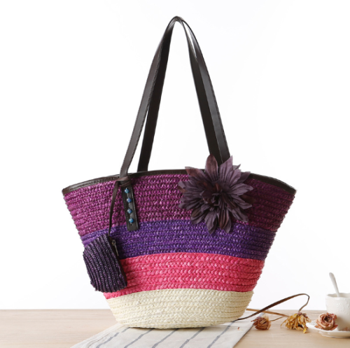Wholesale hand-woven bohemian beach bag fashion inverted hat-shaped rattan woven straw bag female handbag