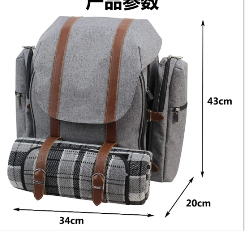 Family 4 people outdoor camping backpack canvas leather picnic backpack