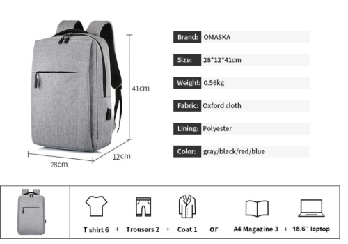 Fashion backpack with charging port Plecak wholesale custom logo waterproof laptop bags backpack mens