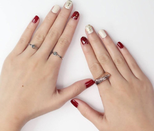 Red&White  twinkling nail polish for women