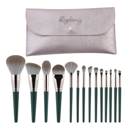 14 Pieces green woman makeup brushes set, soft powder brush portable full set of beauty tool brushes