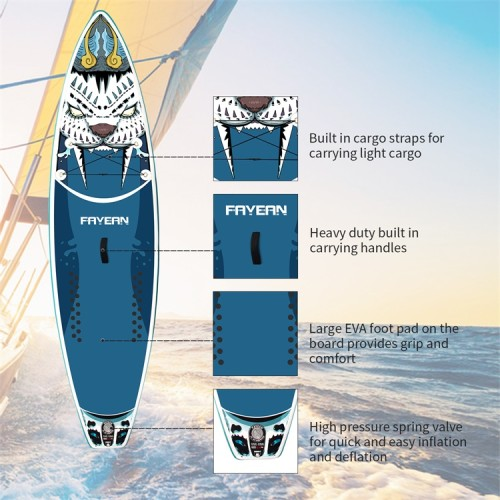 Tiger Design China Wholesale Inflatable Paddle Board Hiqh Quality Surf Board Custom Sup Board blue