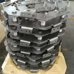 Deep pan apron conveyor chain for material handling