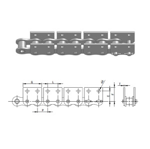 Short pitch stainless steel chain WSA&WSK series attachments
