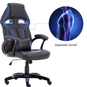 Ergonomic Backrest and Seat Recliner Computer High Back Gaming Chairs of  Racing 003 blue