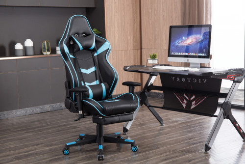 Ergonomic Backrest  High Quality Back Gaming Chairs of  Racing 005 Blue