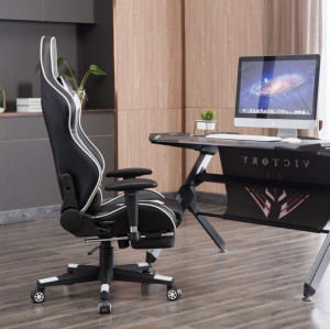 Ergonomic Backrest  High Quality Back Gaming Chairs of  Racing 005 White