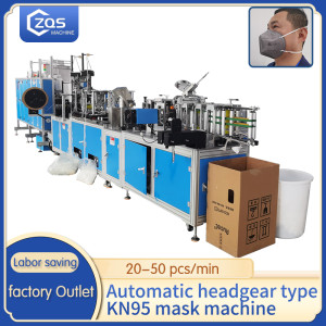 Full Automatic KN95 head band mask machine 20-50pc per min