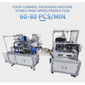 1+1 KF94 fish mask machine with 4 channel  packing machine