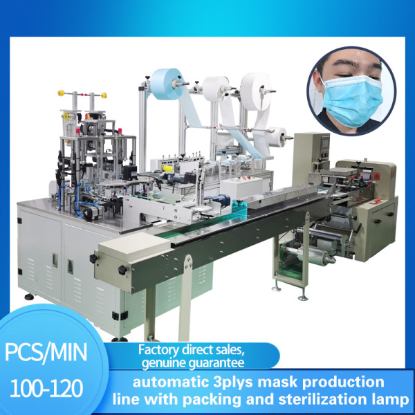 Automatic Mask Machine with ear loop folding device  UV and packing machine 100-120pcs per min