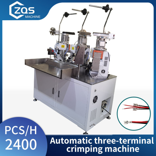 Automatic three-terminal crimping terminal machine