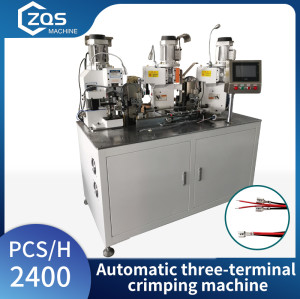 Automatic three-terminal crimping terminal machine