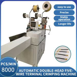 Fully automatic double-head five wire terminal crimping machine
