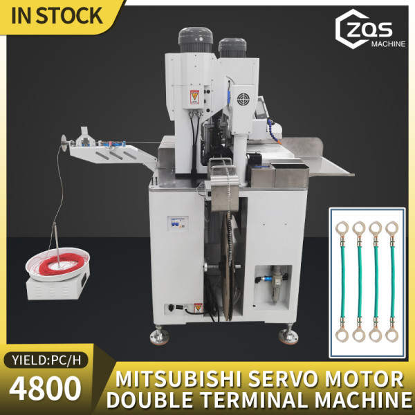 Fully automatic Mitsubishi Servo Motros Double head terminal crimping machine