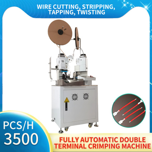 Fully automatic stepper motors double-head terminal crimping machine