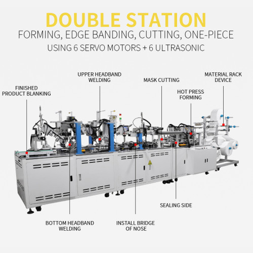 Fully Automatic double station hot pressing side welding ear loop 3M cup mask machine 12-15pcs per min