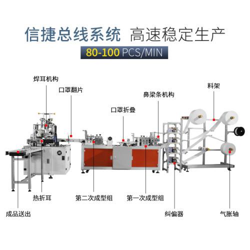 全自动一拖一鱼形定位口罩机80-100pcs/min