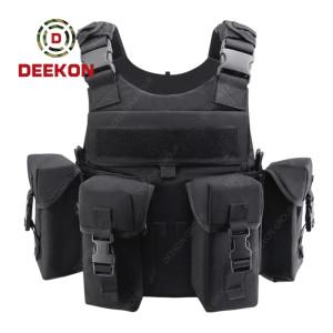 Supplier Bulletproof Vest Swat Black Plate Carrier with Pouches Level 3 Level 4