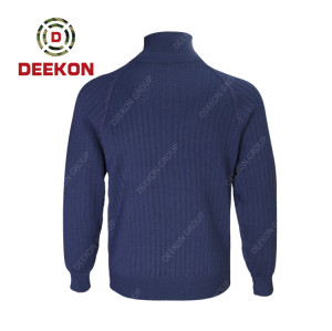 Deekon factory manufacture Dark Blue Poly/acrylic O-Shape Collar customized LOGO 1/4 zipper Long Sleeve sweater pullover