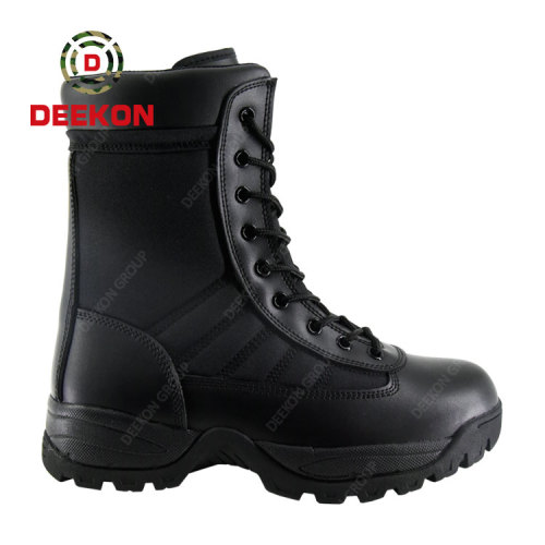 Custom Molded Sole Military Tactical Black Leather Army Combat Boots For Men