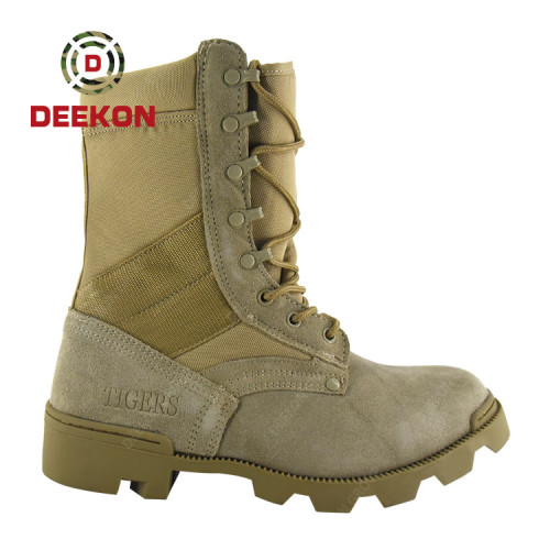 Top Quality Leather and Nylon Upper Khaki Military High Jungle Boot