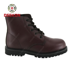 Dark Brown Full Grain Leather Military Tactical Boots