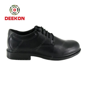 Genuine Leather Rubber Outsole Mens Tactical Officer Shoes