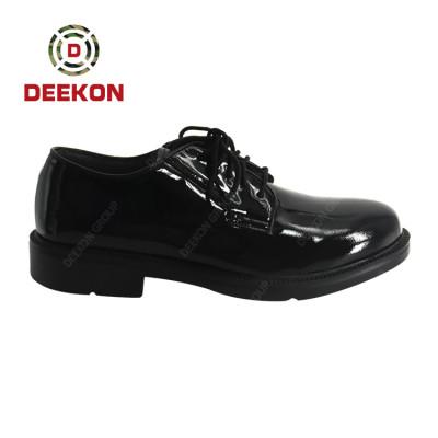 Deekon Factory Supply Custom Ghana Black Full Leather Officers Shoes