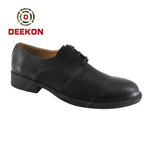 Military First Grain Leather Rubber Outsole Black Officer Shoes