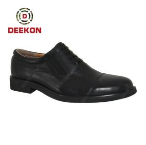 Deekon Black Color First Genuine Leather Military Officer Men Shoes