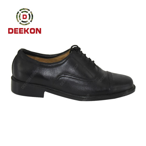Factory Direct Genuine Leather Oxford Rubber Outsole Formal Black Police Military Shoes