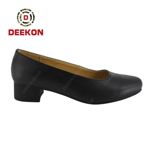 Deekon Group Army Black Leather Officer Military Dress Women Shoes
