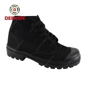 Deekon Classic Lace Up Ankle Men Black Color Canvas Shoes