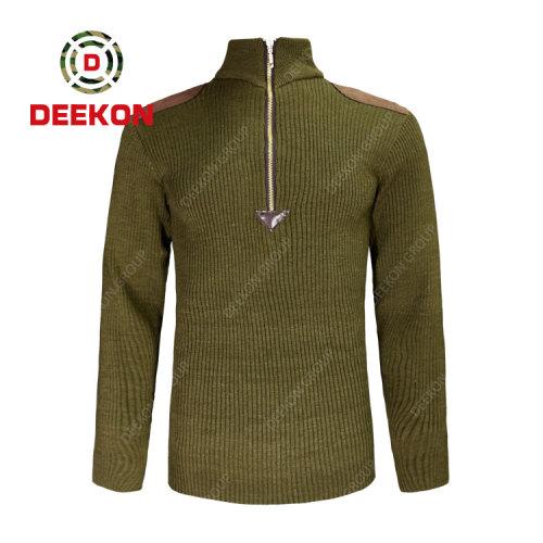 Deekon factory wholesale army green O-Shape Collar customized  1/4 zipper Long Sleeve sweater pullover