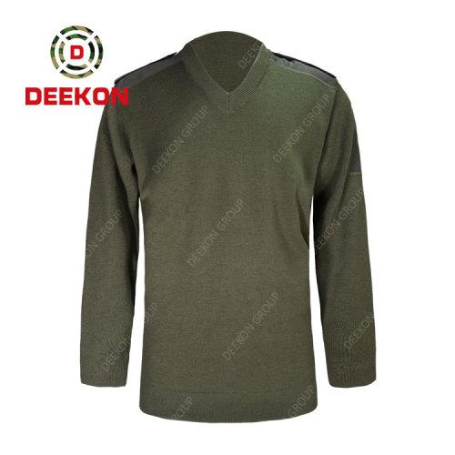 Deekon factory supply army green V-neck collar  Long Sleeve military acrylic sweater