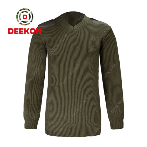 Deekon wholesale wool blended V-neck collar  Long Sleeve military wool sweater with elbow pads
