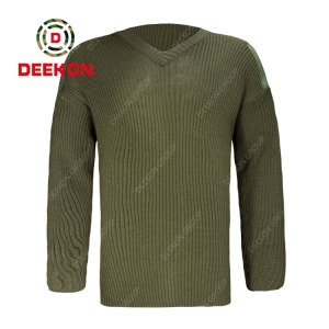 Deekon factory made army green color V-neck collar  Long Sleeve military army wool sweater