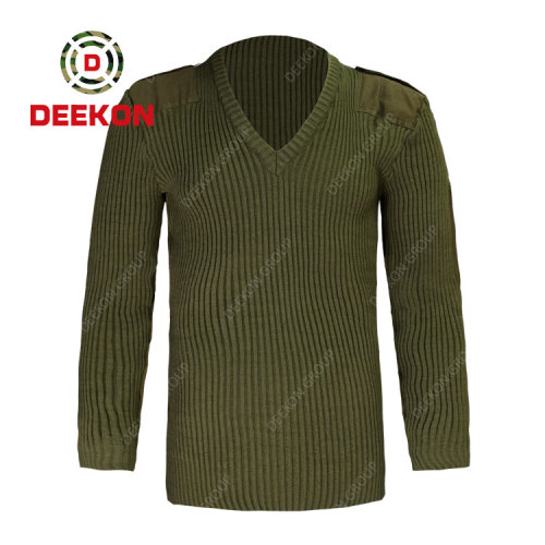 Deekon factory army green color V-neck collar Chile Long Sleeve military army wool-blended sweater